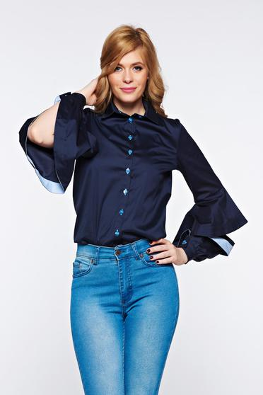 PrettyGirl darkblue women`s shirt office nonelastic cotton with cut-out sleeves