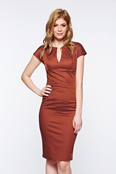 PrettyGirl brown dress office slightly elastic fabric pencil with v-neckline