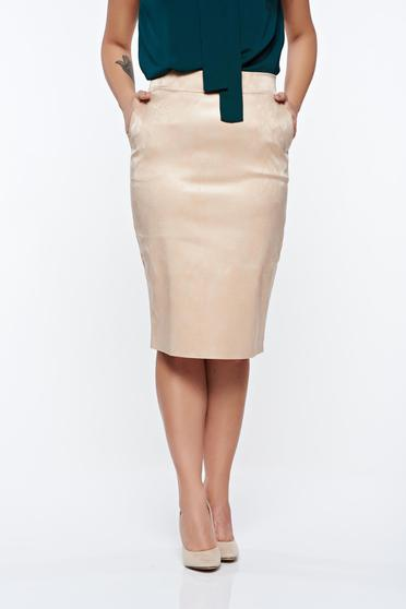 PrettyGirl cream skirt pencil from ecological leather with medium waist