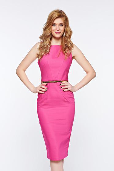 PrettyGirl pink pencil office dress cotton accessorized with belt