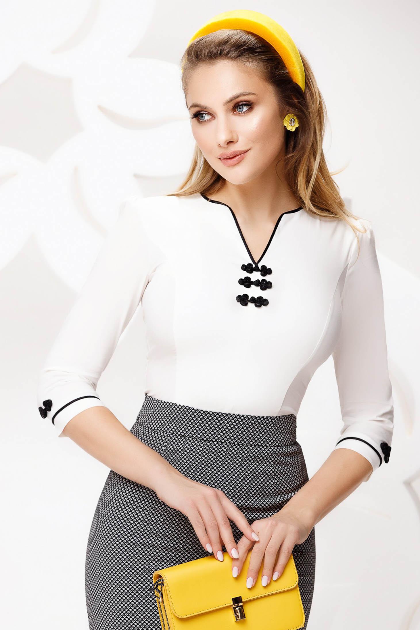 Fehér Fofy irodai női ing rugalmas pamut hímzett betétekkel