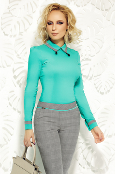 Fofy green women`s shirt office arched cut slightly elastic cotton