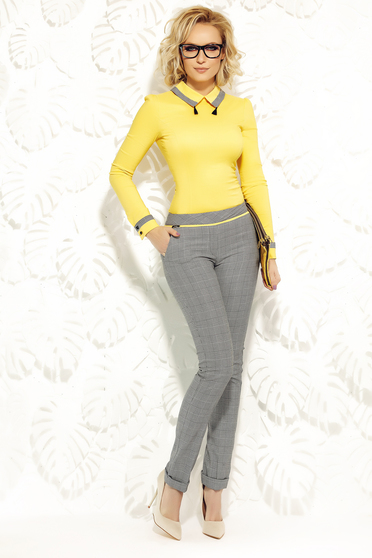 Fofy yellow trousers office slightly elastic fabric with pockets with medium waist conical
