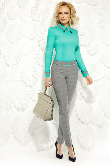Fofy green trousers office slightly elastic fabric with pockets with medium waist conical
