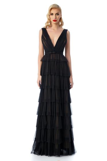 Ana Radu black dress luxurious with inside lining from tulle with deep cleavage with ruffle details