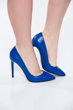 Blue shoes natural leather stiletto with high heels slightly pointed toe tip