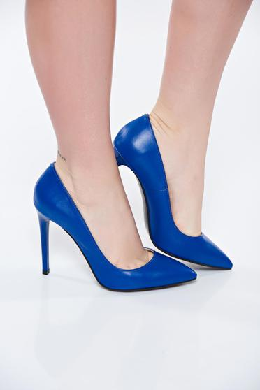 Blue shoes natural leather stiletto with high heels