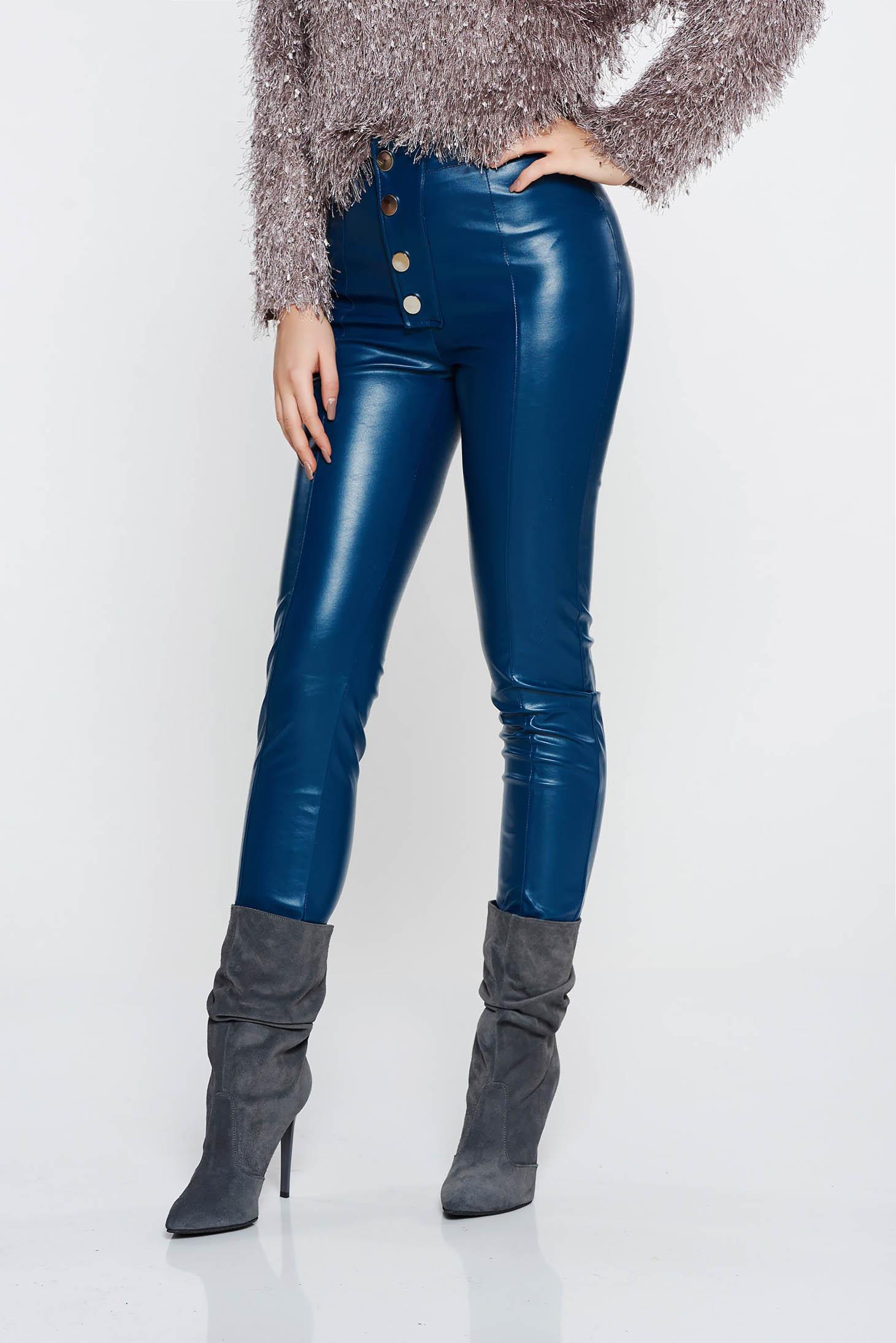 Pantaloni PrettyGirl albastri casual conici cu talie inalta din piele ecologica