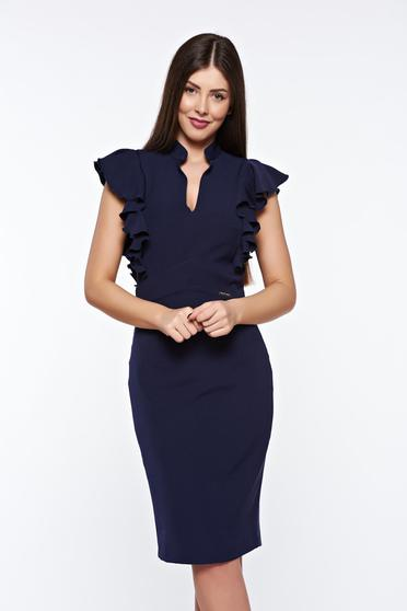 PrettyGirl darkblue elegant pencil dress with inside lining slightly elastic fabric