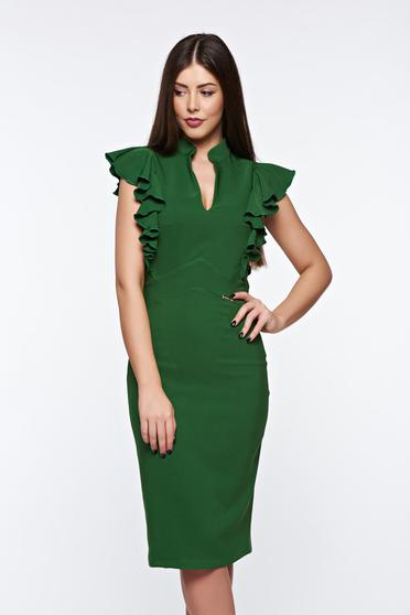 PrettyGirl green elegant pencil dress with inside lining slightly elastic fabric