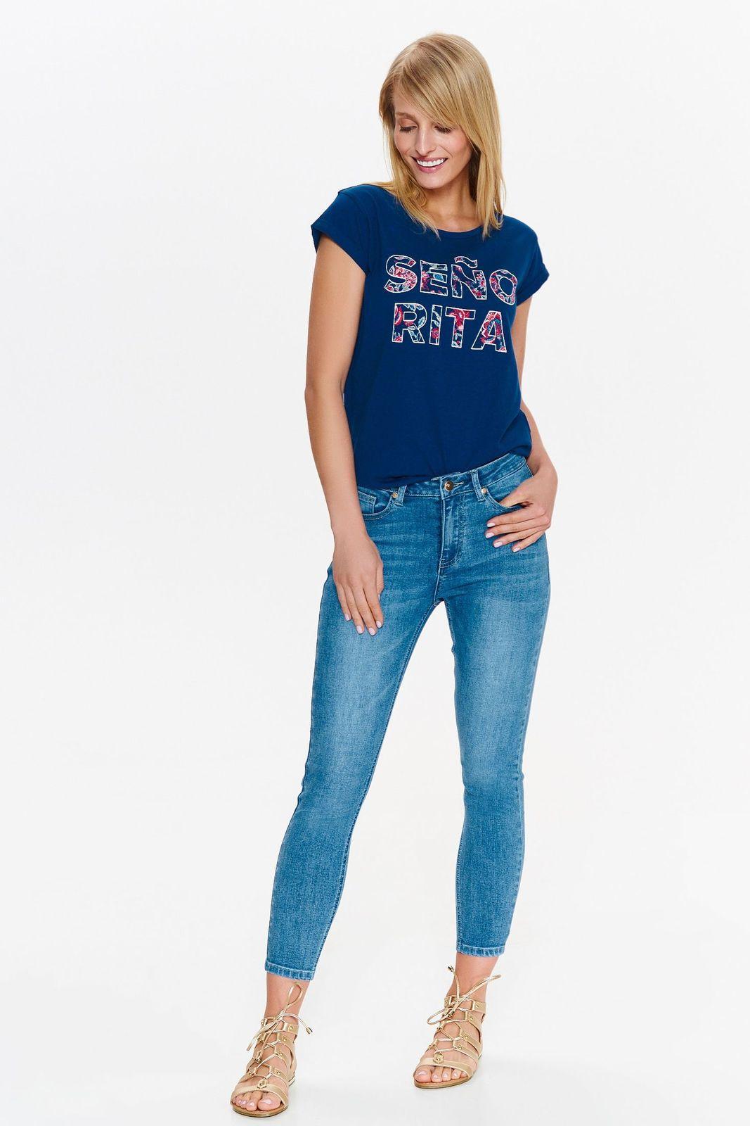 Blugi Top Secret albastri casual skinny din bumbac cu talie medie