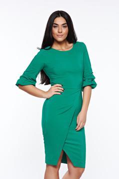 LaDonna green dress elegant slightly elastic fabric wrap around pencil