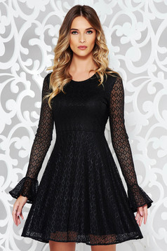 StarShinerS black clubbing cloche dress from laced fabric with inside lining
