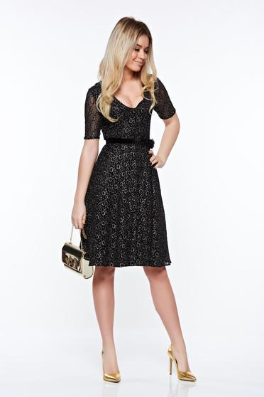 StarShinerS black occasional dress with inside lining from laced fabric with lame thread