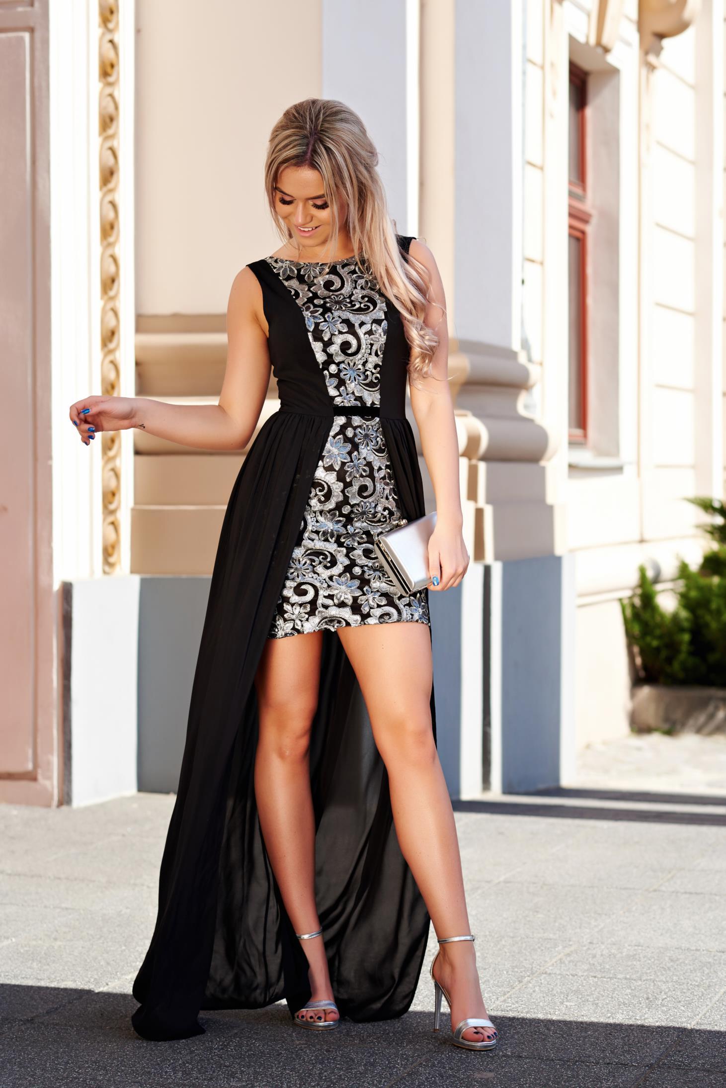 Fekete StarShinerS alkalmi ruha asszimmetrikus szabással fátyol anyag belső  béléssel flitteres díszítés eed8f6341c