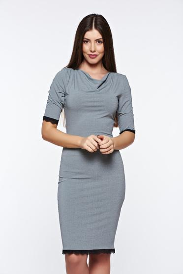 StarShinerS daily grey dress pencil from elastic fabric with lace details
