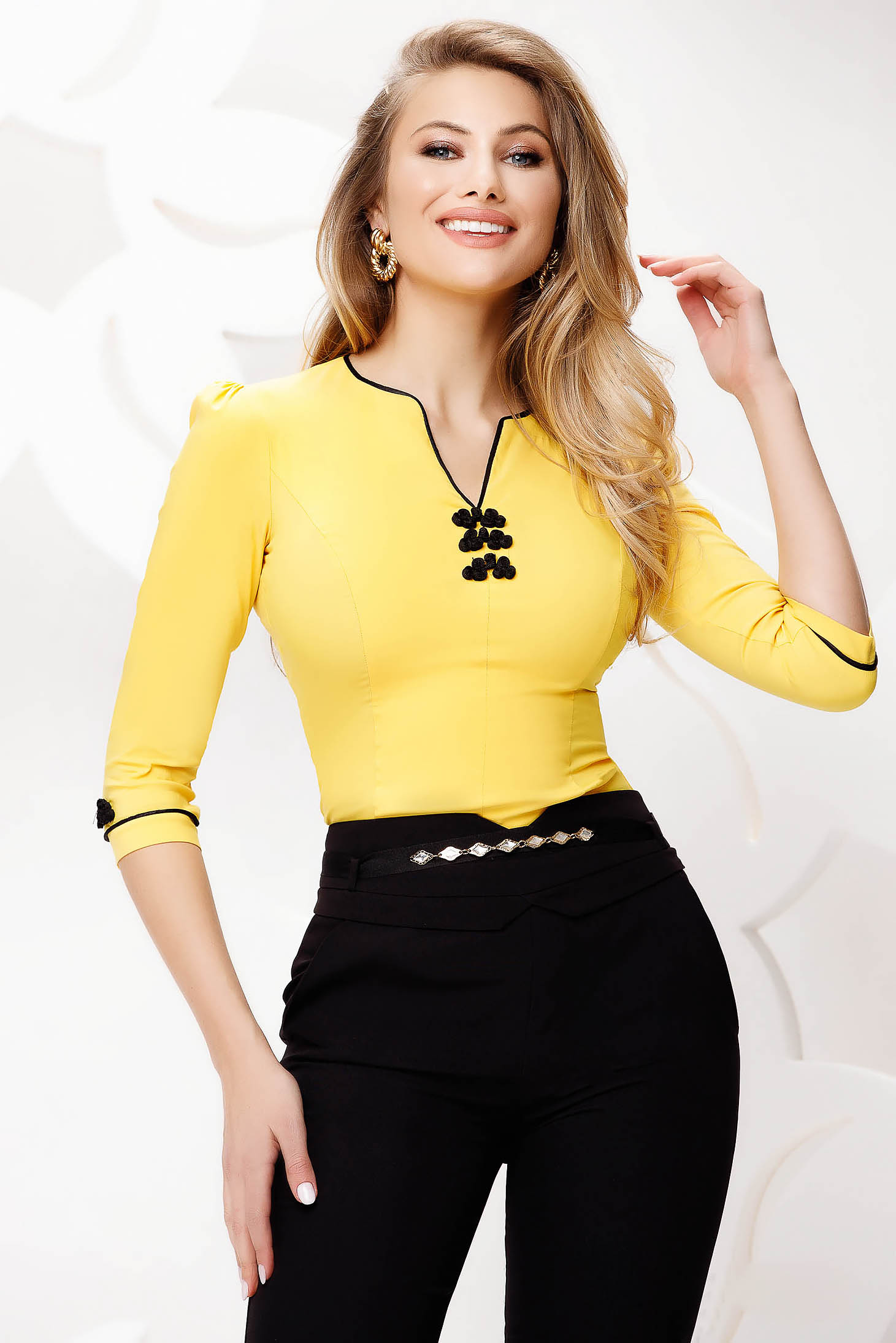 Sárga Fofy irodai női ing rugalmas pamut hímzett betétekkel