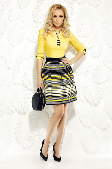 Fofy yellow office cloche skirt slightly elastic fabric high waisted