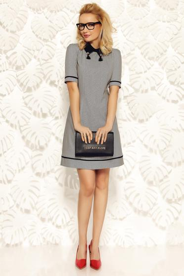 Fofy grey office dress a-line from non elastic fabric