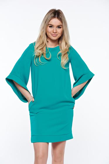 LaDonna green elegant dress with easy cut with inside lining with pockets