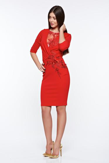 Artista red occasional pencil dress with inside lining with lace details with small beads embellished details