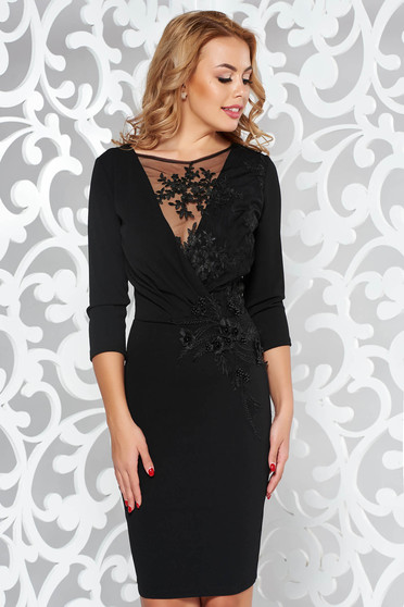 Artista black occasional pencil dress with inside lining with lace details with small beads embellished details