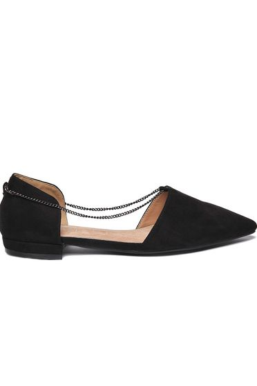 Top Secret black flat shoes casual accessorized with chain slightly pointed toe tip low heel