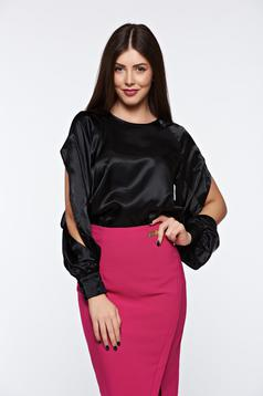 PrettyGirl black women`s blouse elegant flared with cut-out sleeves from satin fabric texture