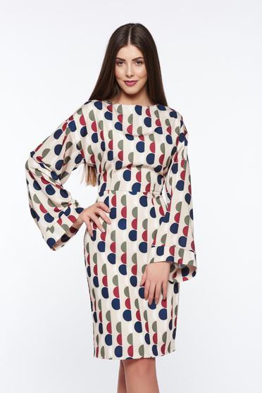 PrettyGirl cream elegant pencil dress from satin fabric texture with inside lining