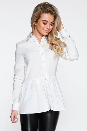 PrettyGirl white casual women`s shirt cotton with easy cut with frilled waist