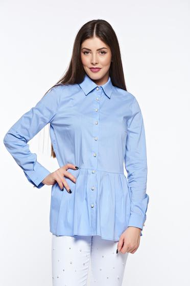 PrettyGirl lightblue casual women`s shirt cotton with easy cut with frilled waist
