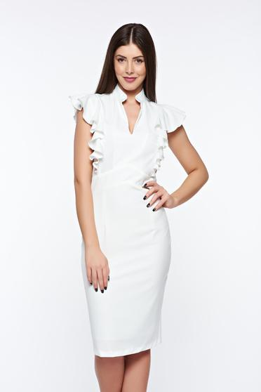 PrettyGirl white elegant pencil dress with inside lining slightly elastic fabric