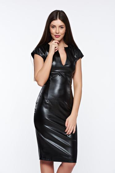 PrettyGirl black pencil dress from ecological leather with v-neckline