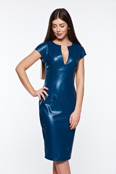 PrettyGirl darkblue pencil dress from ecological leather with v-neckline