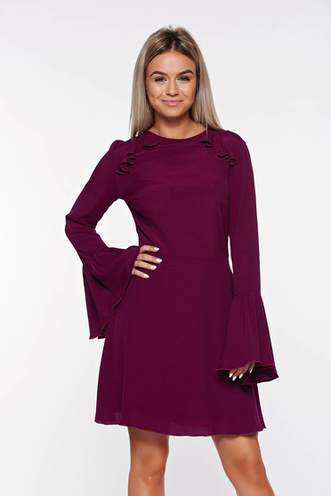 PrettyGirl purple dress bare back voile fabric with bell sleeve with inside lining
