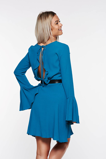 PrettyGirl turquoise dress bare back voile fabric with bell sleeve with inside lining