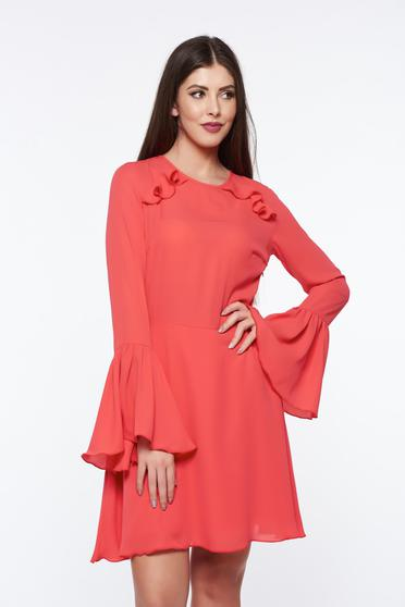 PrettyGirl coral dress bare back voile fabric with bell sleeve with inside lining