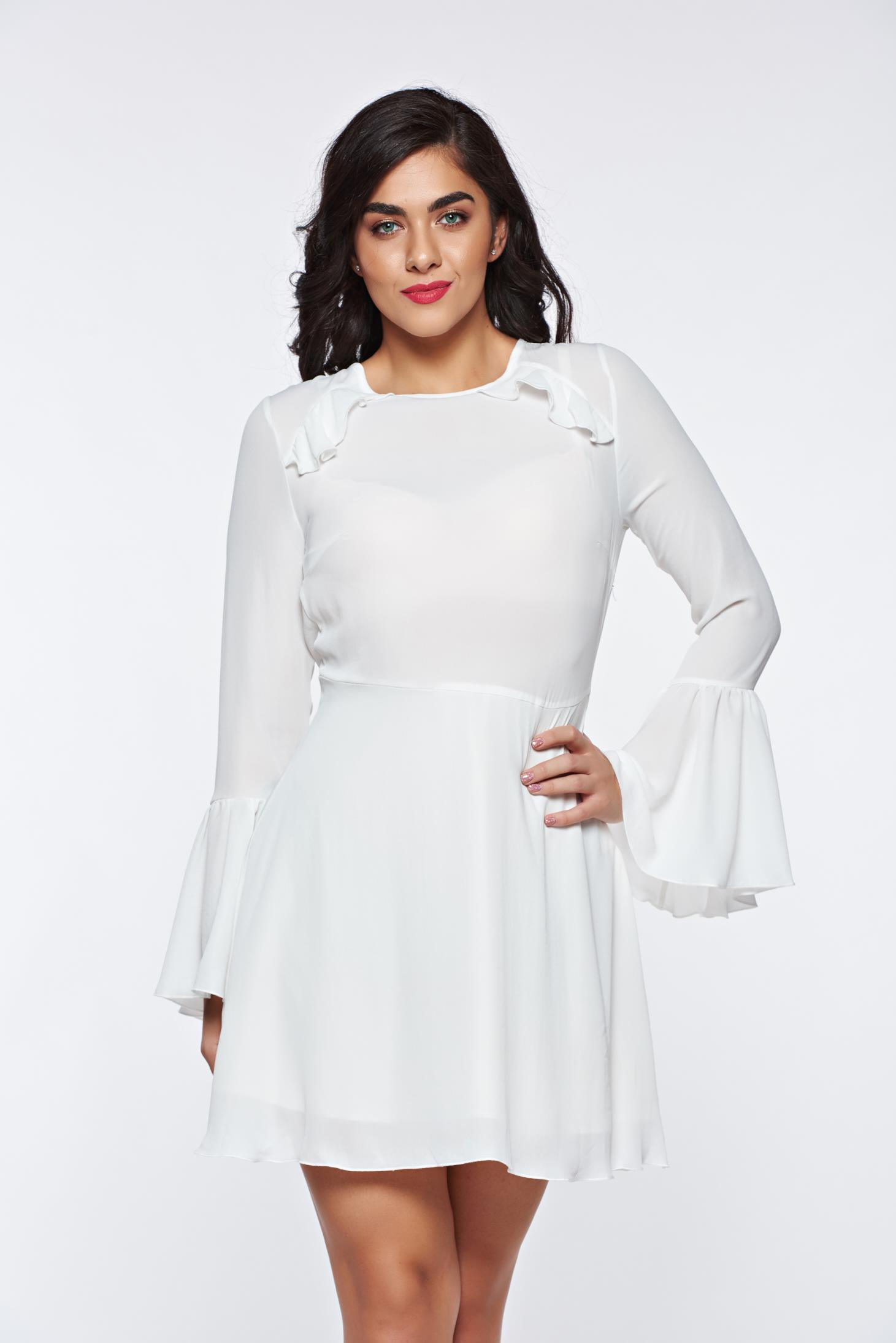 PrettyGirl white dress bare back voile fabric with bell sleeve with inside lining