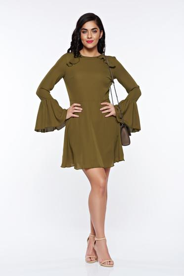 PrettyGirl khaki dress bare back voile fabric with bell sleeve with inside lining