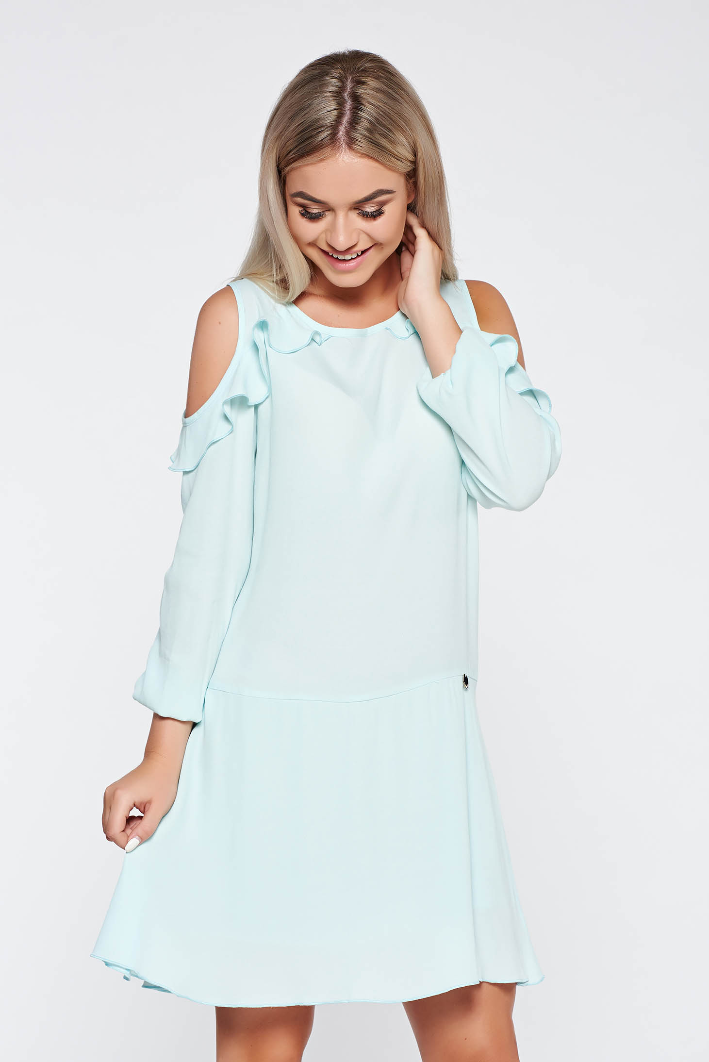 PrettyGirl daily mint dress flared both shoulders cut out