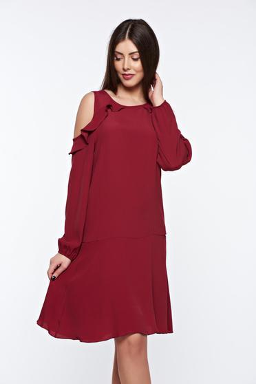 PrettyGirl daily burgundy dress flared both shoulders cut out
