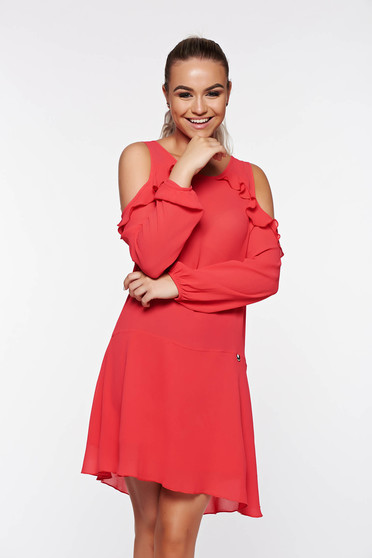PrettyGirl daily coral dress flared with both shoulders cut out