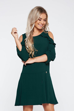 PrettyGirl daily green dress flared both shoulders cut out