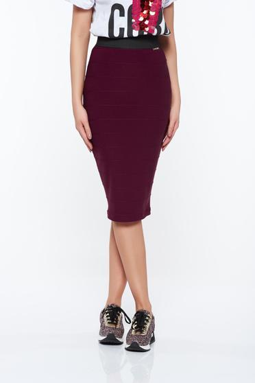 PrettyGirl purple casual pencil skirt from elastic fabric zipper accessory