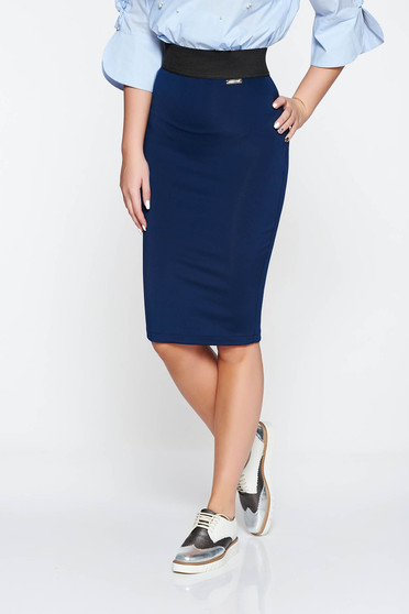 PrettyGirl darkblue casual pencil skirt from elastic fabric zipper accessory