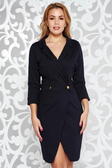 PrettyGirl wrap around elegant daily darkblue dress with a cleavage