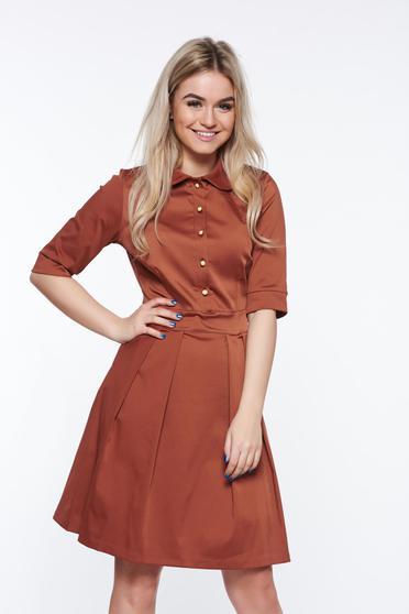 PrettyGirl brown office cloche dress slightly elastic fabric with round collar
