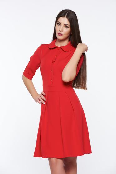 PrettyGirl red office cloche dress slightly elastic fabric with round collar