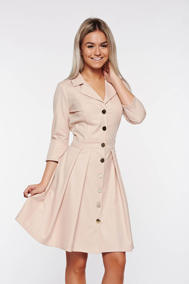 PrettyGirl rosa office dress with v-neckline with pockets