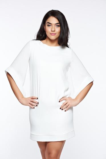LaDonna white elegant dress with easy cut with inside lining with pockets
